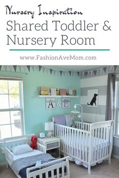 Shared Boy Girl Toddler and Nursery Room - Kinderzimmer Baby And Toddler Shared Room, Boy And Girl Shared Room, Toddler Rooms, Shared Rooms, Girl Toddler, Kids Rooms, Boy Girl Room, Child Room, Boy Rooms