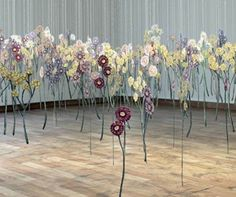 art installation Floating Garden of Embroidered Thread Drawings Brings Nature Indoors Floating Garden, Floating Flowers, Free Machine Embroidery, Embroidery Art, Water Soluble Fabric, Stitch Drawing, Amanda, Colossal Art, Everyday Objects
