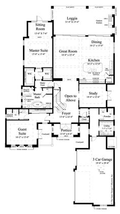 Main Level Floor Plan. The Sater Design Collectionu0027s Luxury, Tuscan Home  Plan  Design