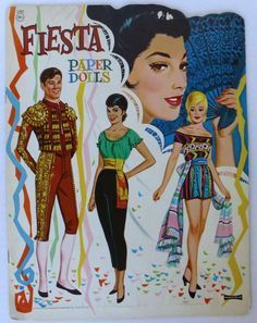 """Fiesta Paper Doll Book Vintage Saalfield 1965 Uncut • $39.95 • See Photos, Click Now! YOU will Get the Best Deal, Money Back Guarantee! Beautiful paper doll book published by Saalfield in 1965 #1360 Measures 14"""" x 11"""" and has 6 pages of bright clothing with 6 dolls on the covers and a little 171186824041"""