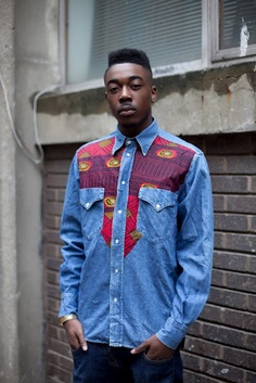 African print denim shirt