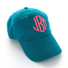 Teal Monogrammed Baseball Cap