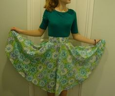 I love circle skirts, they are so fun to wear and dance in. I made these from bedsheets I found in the seemingly bottomless linens closet.  My answers...