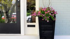 planter on front porch: Kelly--change door to black?? add wrought aluminum panel or rail