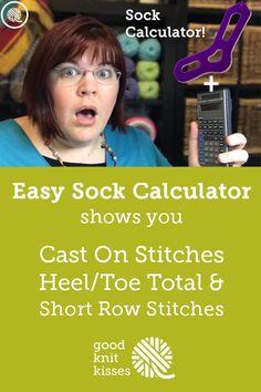 Interactive Sock Calculator – knitting socks – Knitting for Beginners Knitting Loom Socks, Loom Knitting Projects, Loom Knitting Patterns, Crochet Socks, Knitted Slippers, Knitting Stitches, Knitting Needles, Hand Knitting, Knit Crochet