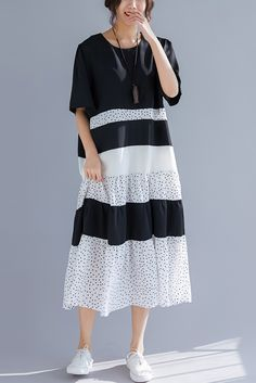 cce3058f42 Women o neck patchwork linen cotton clothes 18th Century Work Outfits black Art  Dress Summer