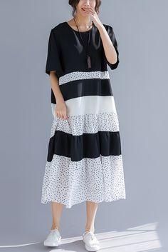 ab643d1613cd Women o neck patchwork linen cotton clothes 18th Century Work Outfits black  Art Dress Summer