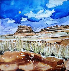 Chaco Canyon New Mexico Alcohol Ink Landscape by DomeLifeStudios, $75.00