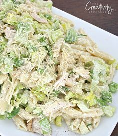 With a mix of romaine and penne pasta, this chicken caesar pasta salad recipe is out of this world and a big crowd pleaser.