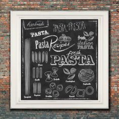 "Wall Art-  Kitchen  Chalkboard Print -Chalkboard  Italian Pasta Menu Subway Art Typography- Italian Pasta Recipes- Print  12 x 12"" No.208"