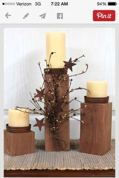 Primitive Decor Country Candle Holders Outdoor by FloralsFromHome, .I'm going to DIY this, it would be soo easy and lots cheaper to make them:) Primitive Homes, Primitive Country, Easy Primitive Crafts, Primitive Decorations, Primitive Candles, Outdoor Candle Holders, Wooden Candle Holders, Country Crafts, Country Decor