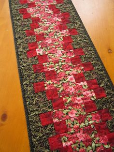 Quilted Table Runner Handmade Floral with by PatchworkMountain, $42.00