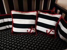 My personal DIY project for my sons nautical crib bedding set: Bumper, crib skir. My personal DIY Nautical Crib Bedding, Baby Crib Bedding, Nautical Nursery, Comforter, Baby Crib Diy, Baby Cribs, Diy Bathroom Paint, Diy Wood Bench, Diy Gifts For Friends