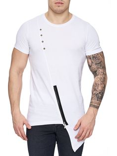 K&D Men Asymmetrical Zipper Long T-shirt - White