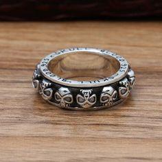 Men's Sterling Silver Blood Skull Spinner Ring