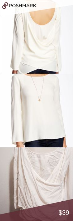 """NWT! Ella Moss Surplice back blouse! Cute white surplice back boho blouse by Ella Moss! NWT!  - Scoop neck - Long sleeves - Scoop back with strap detail - Draped surplice back - Approx. 24"""" length - Imported Fiber Content 100% rayon Ella Moss Tops Blouses"""
