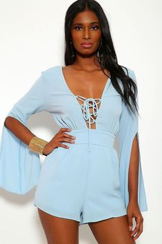 Solid, Short Romper With Sleeves, Slits, Lace Up V Neckline And Stretchy Waist Imported S.L Polyester Spandex Blue HHF Estimated delivery time days Lace Romper, Long Sleeve Romper, Festival Outfits, Blue Shorts, Blue Denim, Summer Outfits, Lace Up, Rompers, Clothes For Women