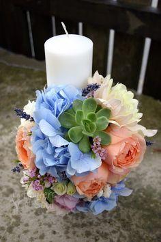 Flowers of Soul: Lumanari de botez Decorative Candles, Diy Ideas, Wedding Flowers, Table Decorations, Plants, Polyvore, Bottles, Home, Invitations