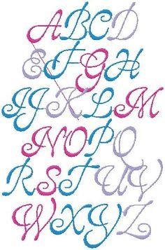 SCRIPT Style 3 Machine Embroidery design Font, Monogram 4 SIZES 1INCH-4INCH. $2.99, via Etsy.