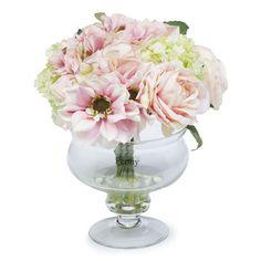 Peony Ortensie, Dalie, Rose e Viburno in vaso di vetro - QVC Italia
