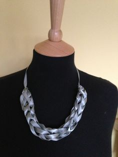 Necklace - finger-knitted with ribbon