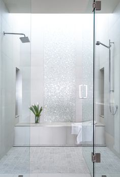 Add a touch of glamour to your bathroom with a sparkling accent tile.