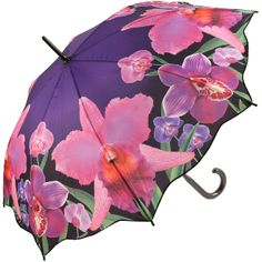 Walking length art umbrella with a stunning colourful print of orchids against a purple background, automatic opening metal/fibreglass 8 rib frame with black plastic crook handle & tips Long Umbrella, Under My Umbrella, Cute Umbrellas, Umbrellas Parasols, Walking In The Rain, Singing In The Rain, Brollies, Yarn Bombing, Purple Backgrounds