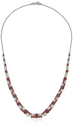 Rhodium-Plated Sterling Silver Necklace with Garnet-Colored and White Cubic Zirconia cttw), Graduated sterling silver necklace featuring round-cut cubic zirconia in alternating clusters Lobster-claw clasp Imported Men Necklace, Initial Necklace, Fashion Necklace, Fashion Jewelry, Beaded Necklace, Women Jewelry, Necklaces With Meaning, Girls Necklaces, Necklace For Girlfriend