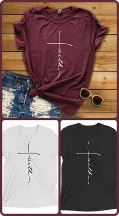 faith crossed tshirt, faith apparel, cross,
