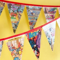 Superhero Comic Book Banner-great craft for discarded comics, could use to perk up YA section!