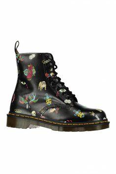 bottines femme pascal dr. martens noir tatoo - accessoires chaussures femme