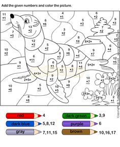 coloring pages for kids free printable numbers preschool worksheets Preschool Number Worksheets, Math Coloring Worksheets, Addition Worksheets, Numbers Preschool, Preschool Math, Kindergarten Worksheets, Worksheets For Kids, Math Classroom, Teaching Math