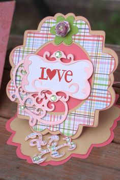 "Pink Plaid ""Love"" circle easel card, with matching envelope on Etsy, $7.00"