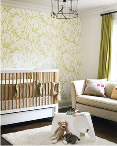 love the green curtains and wallpapered accent wall