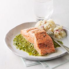 Roast Salmon with Chimichurri Sauce | Eating Well