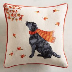 Love this Fall pillow! Dressed in a seasonal scarf, this black lab looks as if it's trying to figure out why the tree isn't hanging on to its leaves. A great pillow for a dog lover or an autumn fan, it's colorful with a soft cotton/linen cover. Fall Pillows, Diy Pillows, Accent Pillows, Throw Pillows, Pillow Ideas, Pick Your Own Pumpkins, Autumn Decorating, Decorating Ideas, Christmas Art