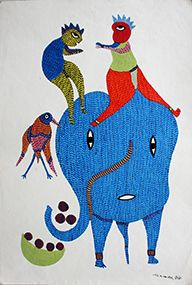 Elephant rider, Acrylic colors on paper, Size- 56 X 38Cms. (22.047X14.961 inch), Artist – Nikki Singh Ureti, Year of execution-2015