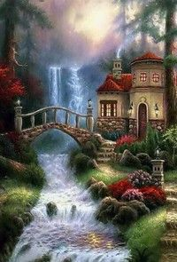 Sierra River Falls Art Painting for sale. Shop your favorite Chuck Pinson Sierra River Falls Art Painting without breaking your banks. Beautiful Paintings, Beautiful Landscapes, Thomas Kinkade Art, Kinkade Paintings, Image Nature, Cottage Art, Les Cascades, Nature Animals, Nature Pictures