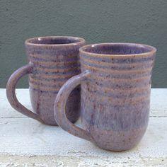 Purple Pottery Mug, Set of 2, Ceramic Mug, Purple Mugs, Coffe Mug, Tea Cup, Purple, Handmade Pottery, Stoneware, j clay pottery, Mug, jClay