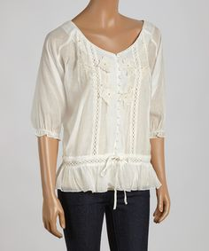 Look at this Simply Irresistible Natural Embroidered Button-Up Top on #zulily today!