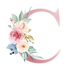 Floral alphabet, letter C with watercolor flowers and leaf. Monogram initials perfectly for wedding invitations, greeting card, logo, poster and other design. - Buy this stock illustration and explore similar illustrations at Adobe Stock L Wallpaper, Alphabet Wallpaper, Flower Background Wallpaper, Flower Backgrounds, Monogram Initials, Monogram Letters, Alphabet Letters, Fleurs Diy, Watercolor Lettering