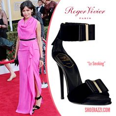 Frieda Pinto wore Roger Vivier Le Smoking bow-embellished ankle-strap sandals to the 2013 Screen Actors Guild Awards.