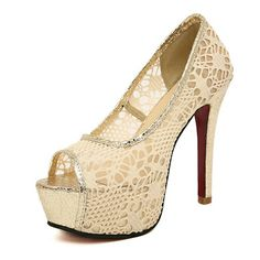 Hollow Nude Lace High Heels