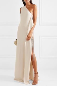 Stella McCartney - One-shoulder chain-embellished stretch-cady gown One Shoulder Dress Long, Hair To One Side, Casual Dresses, Formal Dresses, Fall Dresses, Long Dresses, Prom Dresses, The Emmys, Dress To Impress