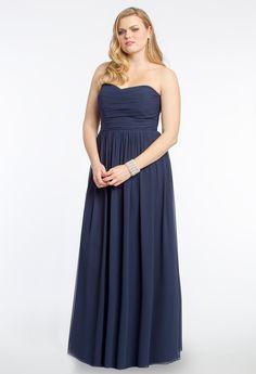 Plus Size Strapless Draped Bodice Dress #camillelavie #CLVprom