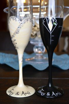 Wedding toasting flutes hand painted by lgrn22 on Etsy, $55.00