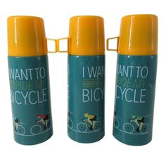 'I Want To Ride My Bicycle' Cycling Design Vacuum Flask with lid