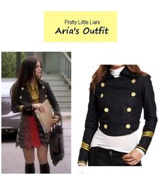 This is showing the jacket,but I loved her skirt of ties! What an awesome idea Pretty Little Liars Hanna, Pretty Little Liars Outfits, Pretty Little Liers, Aria Montgomery Outfit, Fashion Tv, Fashion Outfits, Military Style Jackets, Military Jacket, Lucy Hale Style