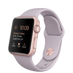 Apple Watch Sport 38mm Rose Gold Aluminum Case with Lavender Sport Band  http://store.apple.com/xc/product/MLCH2PP/A