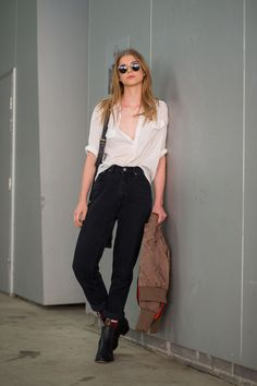 Half tucked blouse with baggy black denim.